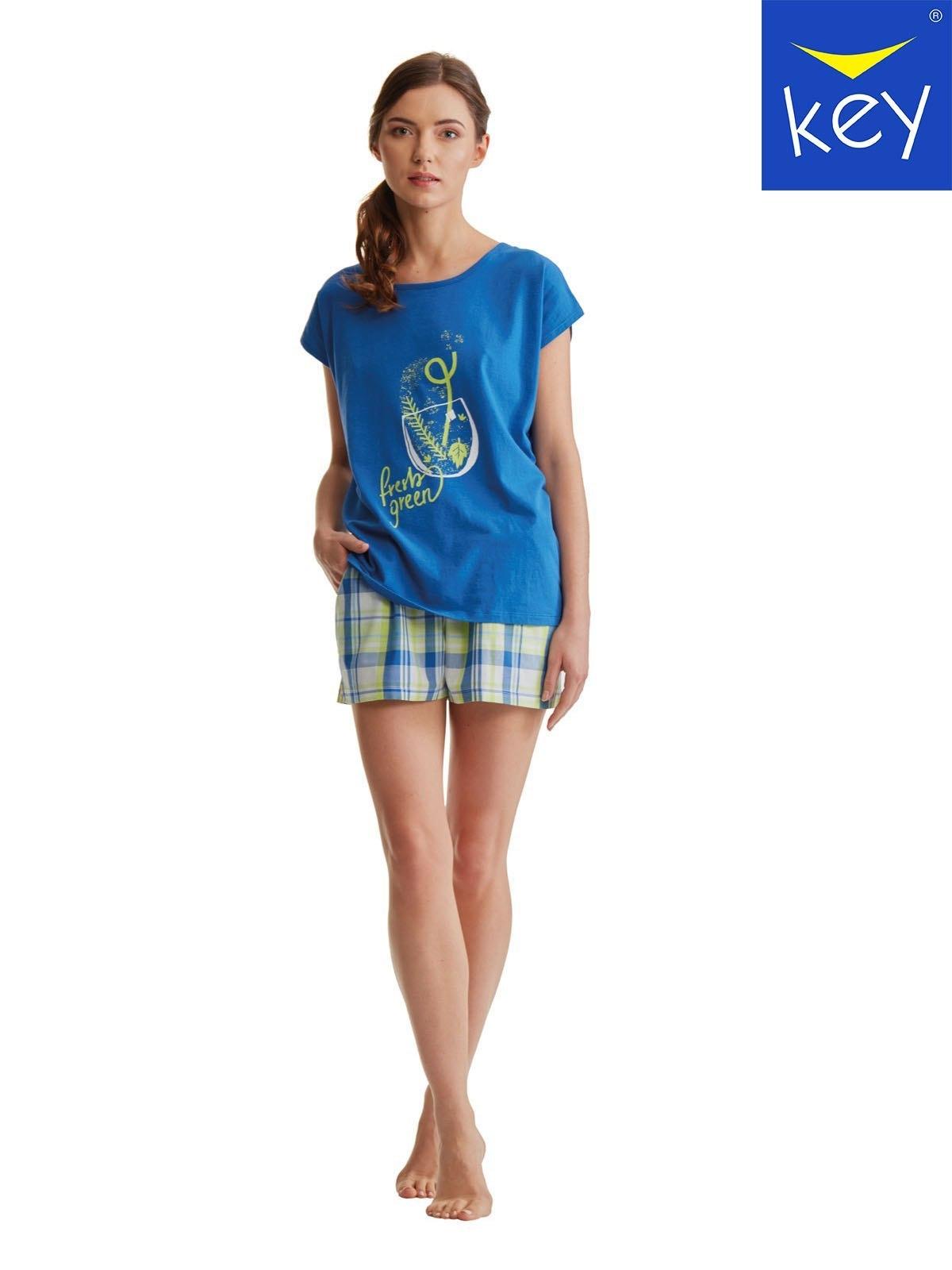 48fbb045fa1a73 Bawełniana piżamka damska z krótkimi spodenkami Key LNS 470 A8.