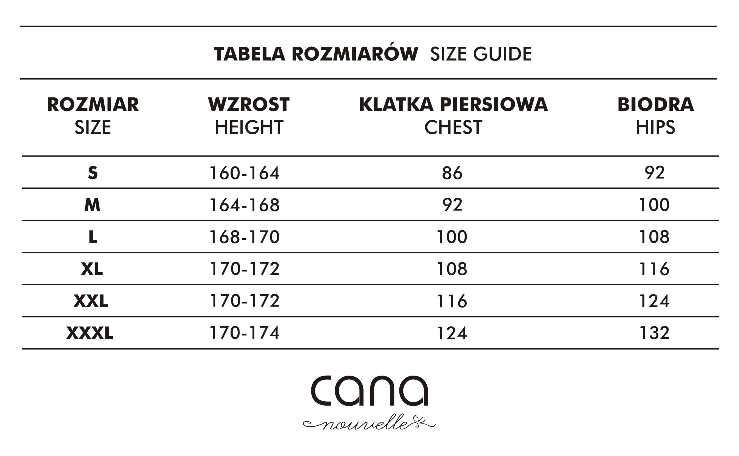 Tabela rozmiarów bielizna Cana