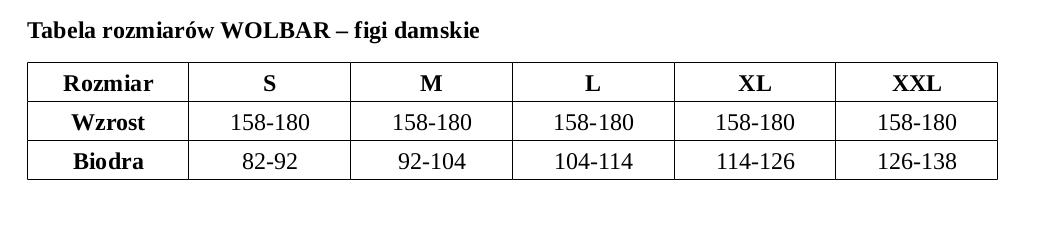 Bielizna Wolbar tabela rozmiarów