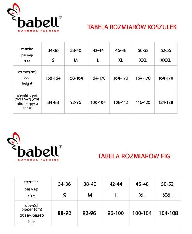 Bielizna Babell - tabela rozmiarów