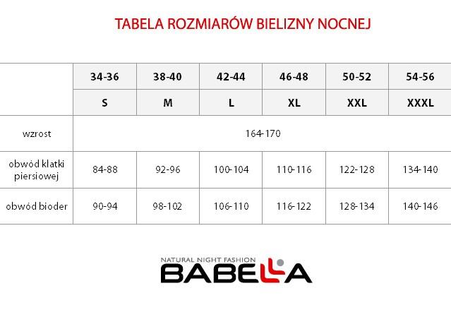 Bielizna nocna Babella - tabela rozmiarów